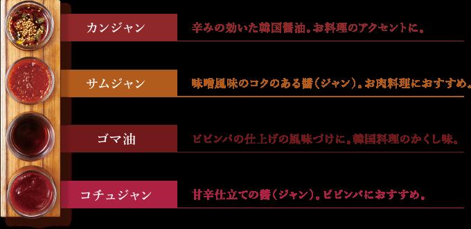 4種の醬(ジャン) 画像